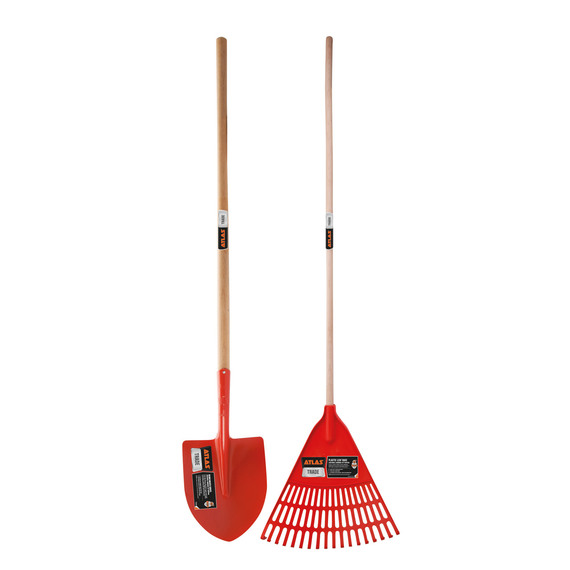Atlas Trade Long Handle Wooden Shovel & Leaf Rake Set
