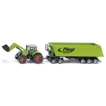 47221  sku1949   siku 1 50 claas with front loader  dolly   tipping trailer