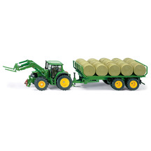 47234  sku3862   siku 1 32 john deere tractor with front loader and trailer with round bales