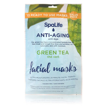 SpaLife - 10 pack Facial Mask - Anti-aging Green Tea Faci...