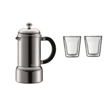 Bodum Espresso Maker with Bonus 2x Small Canteen Double W...