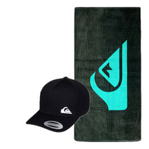 QUIKSILVER Half Hit Black Cap and Mountain Wave Towel Pack