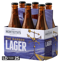Monteith's Barber Lager 6 Pack Bottles 330ml