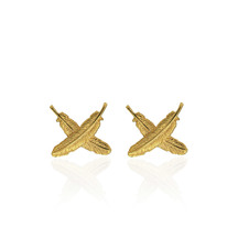 55323 boh runga feather kisses gold studs