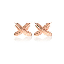 55324 boh runga feather kisses rose gold studs