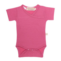 Mokopuna Merino Short Sleeve Bodysuit Raspberry