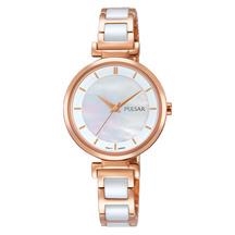 Pulsar Ladies Rose Gold Ceramic Watch