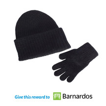 Barnados 36295 kids beanie   glove   black