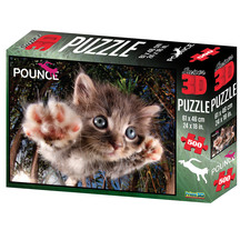 Super 3D 500-Piece Jigsaw Puzzle - Pounce Cat BamBam