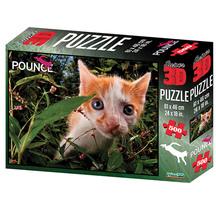 Super 3D 500-Piece Pounce Cat Jigsaw Puzzle
