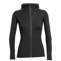 Icebreaker Women's Quantum Long Sleeve Zip Hood Black