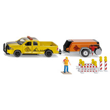 SIKU Dodge Ute w Compressor Trailer, Workman & Barriers
