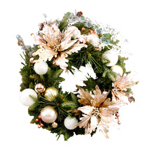 Bliss Wreath - Glittered Mixed Pine with  Poinsettia