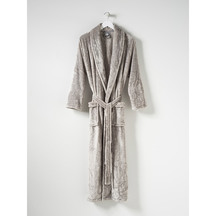 Citta Spot Velour Dressing Gown - Concrete