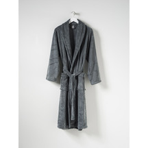 CITTA Plain Men's Velour Dressing Gown Gunmetal