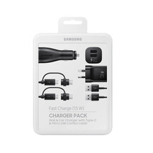 Samsung Charger Pack - Fast Wall & Car + 2x Combo Cables ...