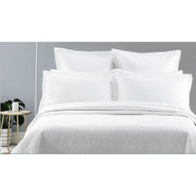 SENECA Nico Quilted White Standard Pillowcase - Pair