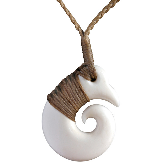 Flybuys Nz Hand Made Bone Necklace Pendant Hand Carved In Nz Koru 35mm Bound