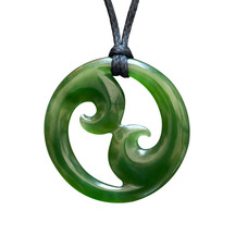 NZ Hand Made Greenstone Necklace/Pendant - Double Koru 40mm
