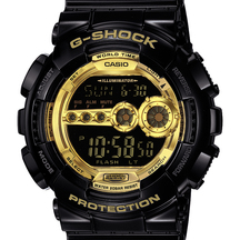 Casio G-Shock Digital Watch Gloss Black with Gold