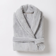 Citta Plain Women's Velour Dressing Gown - Light Grey