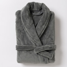 Citta Plain Men's Velour Dressing Gown - Gunmetal