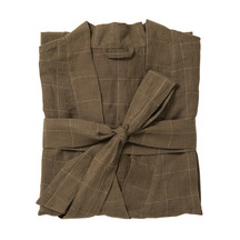 Beau Men's Grid Linen Dressing Gown