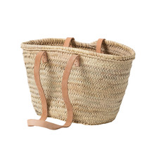 Moroccan Tote Basket w/Long Leather Handles