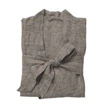 Citta Beau Men's Linen Dressing Gown - Black/Natural