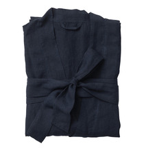 Citta Beau Men's Linen Dressing Gown - Navy