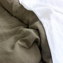 European Vida Pure Linen Khaki Flat Sheet