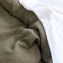 European Vida Pure Linen Khaki Fitted Sheet