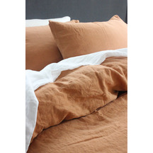 European Vida Pure Linen Saffron Fitted Sheet