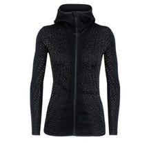 Icebreaker Women's Elemental Long Sleeve Zip Hood Black