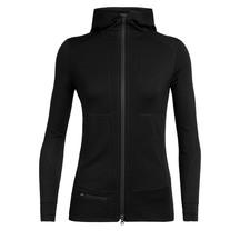 Icebreaker Womens Quantum II LS Zip Hood Black