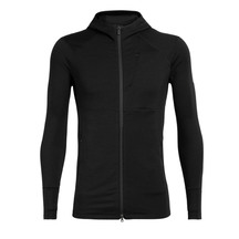 Icebreaker Mens Quantum II Long Sleeve Zip Hood Black